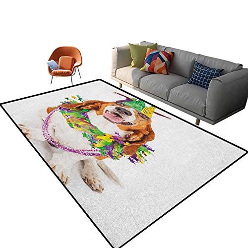 Mardi Gras Bedroom Rugs Happy Smiling Basset Hound Dog Wearing a Jester Hat Neck Garland Bead Necklace Carpet,Cute Room Decor for Baby 2'x 3'