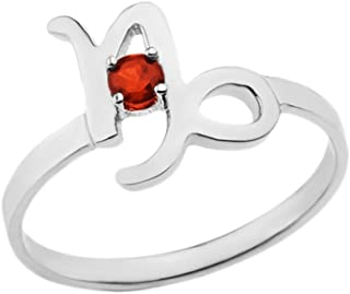 CaliRoseJewelry Sterling Silver Capricorn Zodiac Ring for Women with January Birthstone