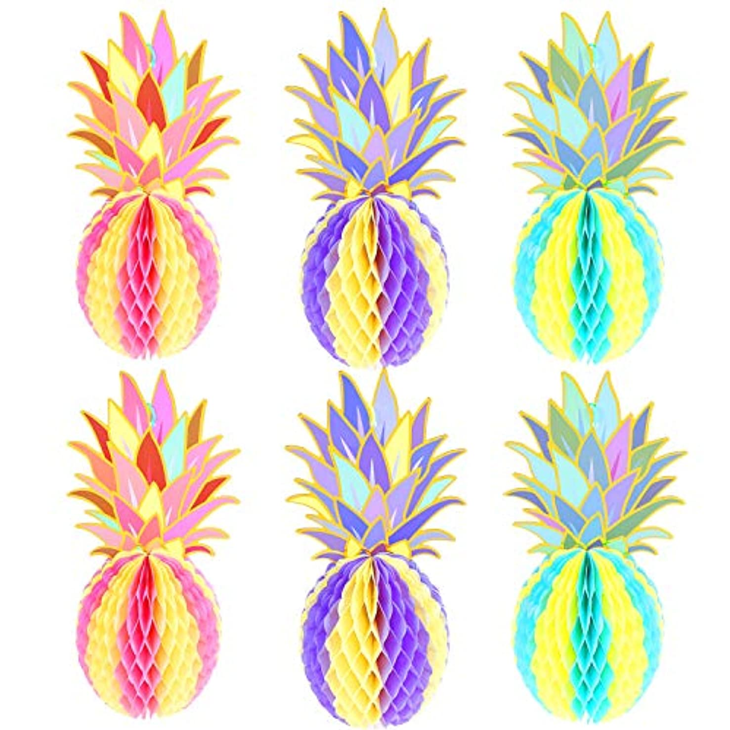 MeiMeiDa 6 Pcs 12 Inch Colorful Pineapple Honeycomb Centerpieces, Tissue Paper Pineapple Table Hanging Decoration for Tropical Hawaiian Luau Party Supplies Favors Wedding Home Decor