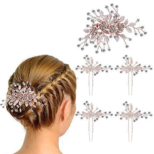 Horquillas de Pelo de Perla, Comius Sharp 5 Piezas Horquillas de Pelo de Diamantes Peinetas de Pelo de Diamantes de Imitación, Peine para el Cabello de Boda para Novia y Dama de Honor (Oro Rosa)