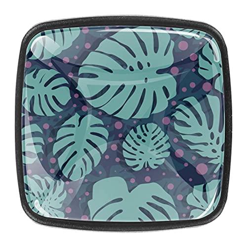 (4 piezas) pomos de cajón para cajones, tiradores de cristal para gabinete con tornillos para gabinete, hogar, oficina, armario, patrón tropical, color oscuro, 35 mm