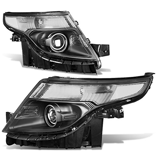 Pair of Black Housing Clear Corner/Signal Projector Headlights Lamps Replacement for Ford Explorer 5th Gen U502 11-15