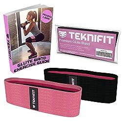 Teknifit Booty Builder Premium Trainingsband Resistenzband für Po und Hüften – Elastisches Rutschfestes Widerstandsband Rosa/Pink (L)