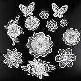 XUNHUI Flores blancas 3D bordadas apliques perlas tul DIY vestido boda costura ropa apliques encaje disfraz decoración parche 1 set / 12 piezas