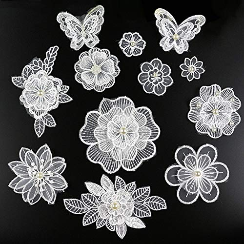 XUNHUI White 3D Floral Embroidery Applique Beaded Pearl Tulle DIY Wedding Dress Sewing Clothing Applique Lace Costumes Decoration Patch 1Set/12Pieces