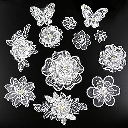 XUNHUI Weiß 3D Blumen-Stickerei Applikation Perlen-Tüll DIY Hochzeit Kleid Nähen Kleidung Applikation Spitze Kostüme Dekoration Patch 1 Set / 12 Stück