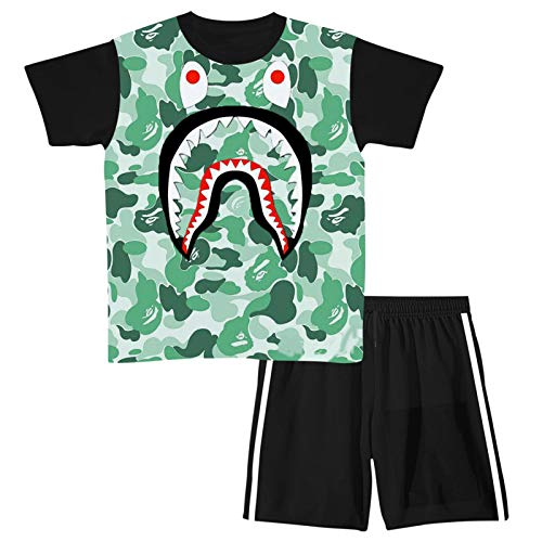 LLYMG 2pcs Youth Boy Girl Green Shark Activewear Short Sleeve T Shirts Pants Set Outfit Tracksuit Sweatsuit Sweatpants Sportswear