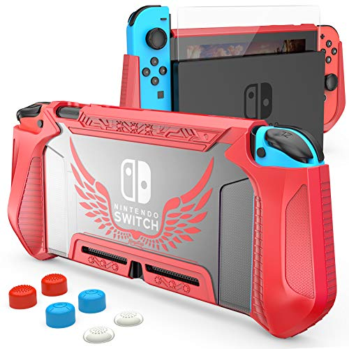 Compatible with Nintendo Switch Case with Screen Protector,HEYSTOP TPU Protective Heavy Duty Cover Case for Nintendo Switch with Shock-Absorption and Anti-Scratch Red