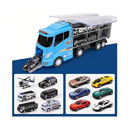 12 En 1 Camión De Transporte Police, Mini Juego De Plástico Vehícul
