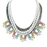 YAZILIND Collar étnico Bohemio Collar imitación Perla con Rhinestone Flor Forma Collares para Las Mujeres Fiesta Mulitcolor