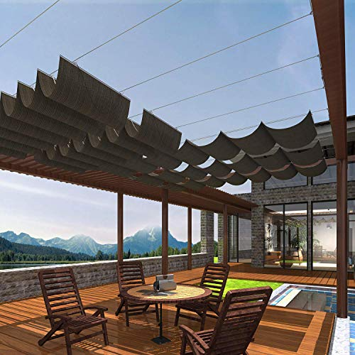 Patio Pergola Shade Cover for Deck Backyard Canopy Shade Awnings Retractable Slide Wire U Shape Replacement Shade Cover Come with Cable Hardware 3'Wx16'L Brown