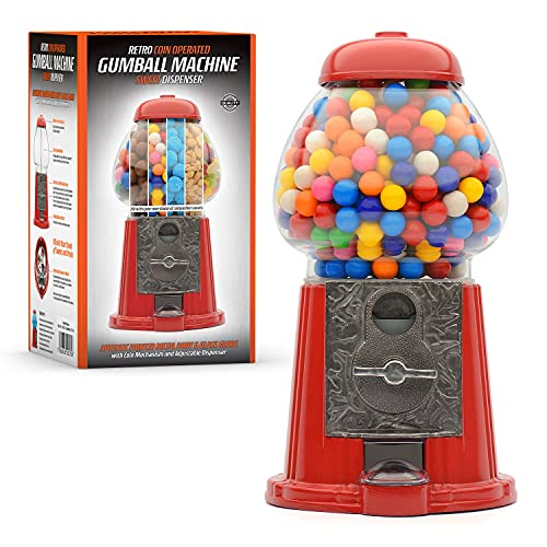 CKB LTD - Distributore di caramelle a gettoni, stile retrò, con Gobstoppers Bob Bons per cioccolatini rotondi e gumballs misti, snack e noci, a gettoni, grande altezza 28 cm, colore: rosso