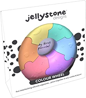 Jellystone Designs Pastel Color Wheel Sensory Puzzle Soft Chew Toy for Kids, Also Assist Childhood Early Learning Children with Autism, ADD, ADHD, Baby Teething, FDA Safe, Non-Toxic Silicone