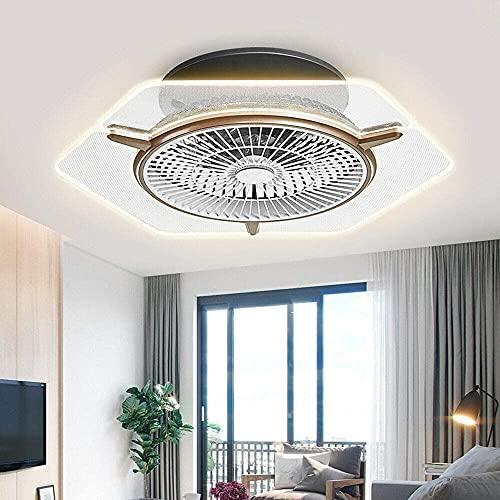 Ventilatore da soffitto a LED moderno invisibile dimmerabile senza lama 3 colori ventilatore ventilatore a soffitto con luci ventilatore a soffitto kit con telecomando (colore oro)