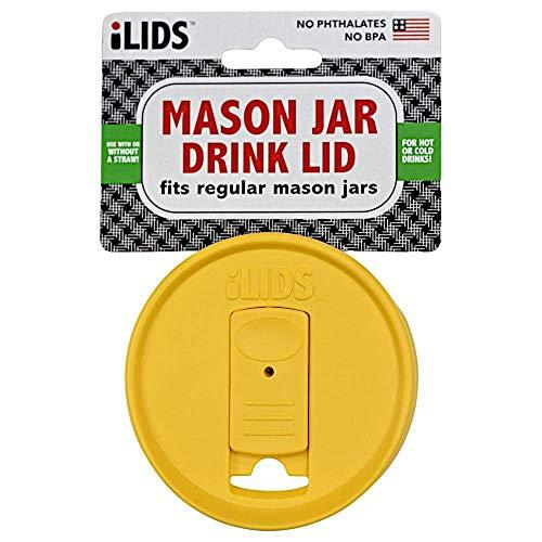 iLIDS Mason Jar Drink Lid, Regular Mouth, Yellow, Pack of 2