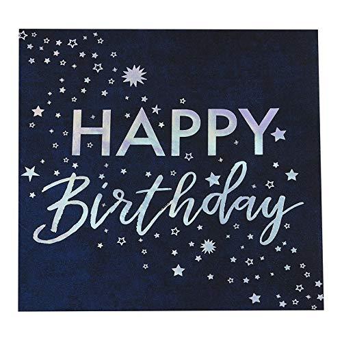 Edle Geburtstags-Servietten Papier-Servietten Happy Birthday Tisch-Deko Geburtstag blau & Silber - Tisch-Dekoration Geburtstags-Feier Party Mädchen Jungen Frau Mann 16 Servietten
