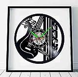 HFWYF Rock Musique Moderne Disque Vinyle Horloge Murale Silencieux Bell Jazz Guitare Décoration 12 Pouces (30 cm)