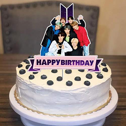 BTS Cake Topper - Happy Birthday Cake Decor - Bangtan Boys Birthday Party Supplies for Boys Girls & Fans