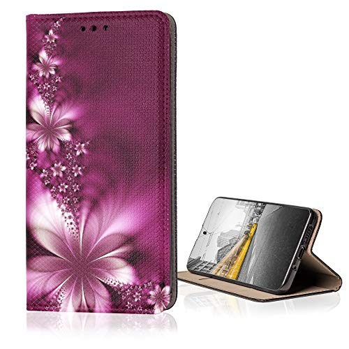 KX-Mobile Hülle für LG K9 Handyhülle Smart Magnet mit Motiv 593 Blüte Abstract Rot