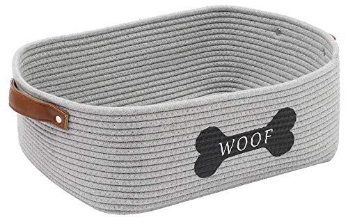 Morezi Strapazierfähiger Baumwollkorb für Hunde mit Griff, Aufbewahrungskorb für Spielzeug und Hunde, ideal für kleine Hunde, Welpen, Decken, Kauspielzeug, Leinen und andere Dinge, Grau