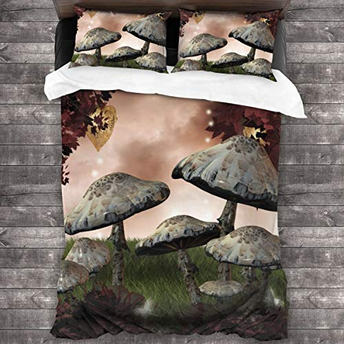 Duvet cover bedding Set,Enchanted Fairytale Forest Scenery,3 Piece Set bedding with 2 pillowcases,SuperKing(220 * 260cm)
