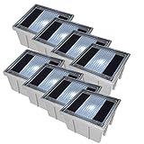Solar Pflasterstein Solarstein 10x10cm trittfest weiße LED im 8er Set