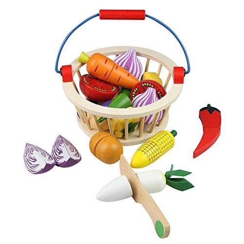 Mango Town Fruits et Légumes Jouets Bois Legumes a Decouper Aliments Jouet Jeux D'imitation Cuisine en Bois Jouet pour Enfant 3 4 5 6 7 Ans
