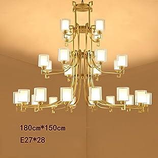 GBYZHMH Chandelier Hotel Villa Duplex lounge buildings of great chandelier stairs lights'modern, simple bronze lamps & Lanterns A++ (Size 28 head)