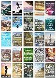Juego de 25 tarjetas postales de vida y momentos con refranes – Tarjetas con texto – Regalo – Idea de decoración, amor, amistad, vida, motivación, tarjetas de cumpleaños, 25 Postkarten