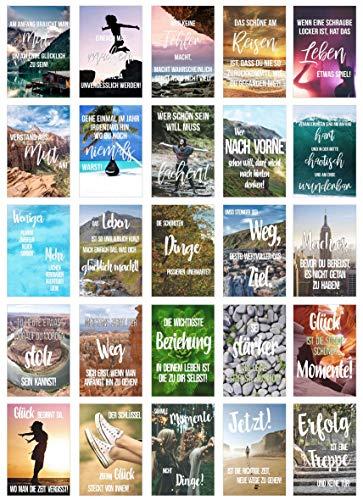 Edition Seidel Set 25 Postkarten Leben & Momente mit Sprüchen - Karten mit Spruch - Geschenk - Dekoidee, Liebe, Freundschaft, Leben, Motivation, Geburtstagskarten Bild Bilder lustig Postkarte Karte