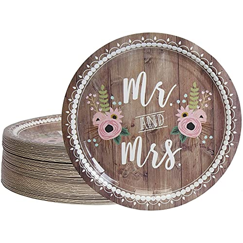 Disposable Plates - 80-Count Paper Plates Wedding Party Supplies for Appetizer Lunch Dinner and Dessert Mr. and Mrs. Rustic Wedding Theme Design 9 Inches in Diameter