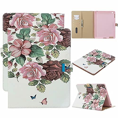 TTNAO Custodia per iPad 2 3 4 (Old Model) Premium Cover Auto Wake Sleep Cover Pelle PU Protettiva Caso Slot Carte Stand Supporto Case,Rosa