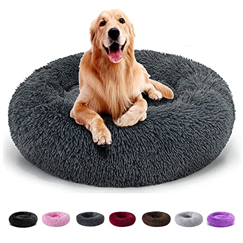 Dog Bed, Dog Beds for Large Dogs Clearance, Puppy Bed, Calming Dog Bed, Pet Bed, Anti-Anxiety Donut Dog Cuddler Bed, Warming Cozy Soft Dog Round Bed (Medium, Dark Grey)