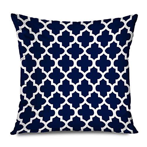 Throw Pillow Cover 18 'Modern Quatrefoil marroquí Flor trébol Azul Marino Blanco Negro geométrico Europeo Tira Funda Almohada