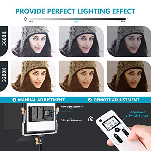 Neewer 2er Packung 480 LED Videoleuchte Fotografie Beleuchtungsset mit Tasche dimmbarem zweifarbigen LED Panel mit LCD Bildschirm drahtloser 2.4G Fernbedienung Stativ für Produktfotografie