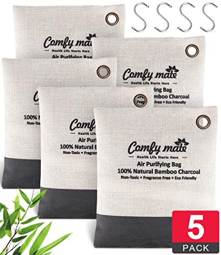 5 Large Pack Bamboo Charcoal Air Purifying Bagwith Hooks, Activated Natural Breathe Air Freshener Deodorizer, Odor Absorber Eliminator Remover for Green Home, Car, Pet, Closet, Shoe Cabinet