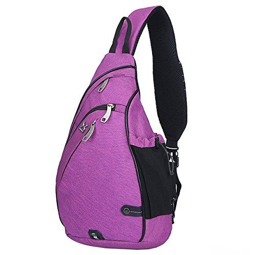 HASAGEI Sport Rucksack Schultertasche Sling Bag Herren und Damen Crossbag Brust Tasche für Wandern Camping Schule (Violett)