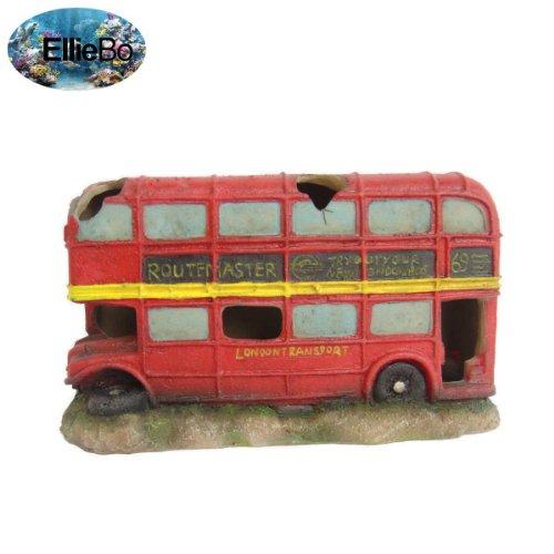 Ellie-Bo Aquariums-decoratie Londense bus, kunsthars, handbeschilderd, 23 x 8 x 12,5 cm