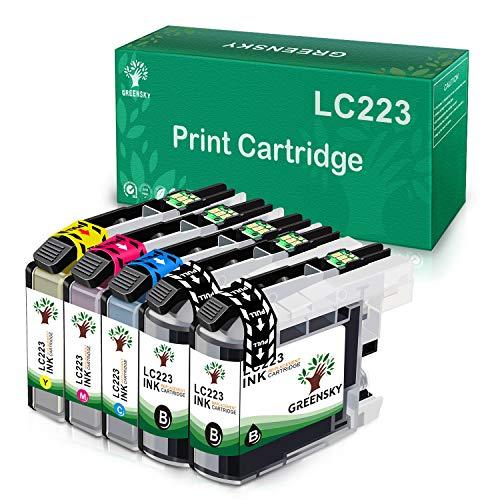 GREENSKY Kompatibler Austausch der Tintenpatrone für Brother LC223 LC223XL LC223 XL LC-223 for Brother MFC-J5320DW J5620DW J5720DW J5625DW J4625DW DCP-J4120DW DCP-J562DW (5er Pack)