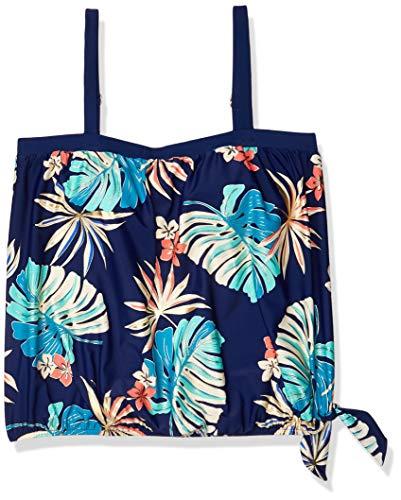 Maxine Of Hollywood Women's Plus-Size Bandeau Tankini Swimsuit Top, Navy//Hula Leaf, 22