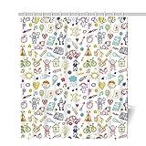 AbbyLexi Doodle Cortina de Ducha única, diseño Infantil de Dibujo de niños en una Tienda de campaña étnica para Varios Otros niños, decoración para habitación de niños, 60 x 72 Pulgadas