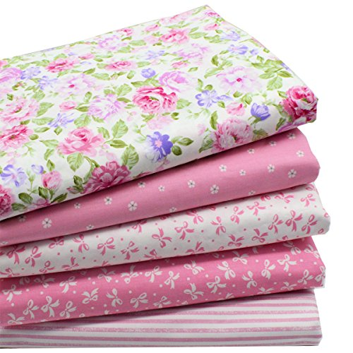 iNee Pink Fat Quarters Quilting Fabric Bundles for Quilting Sewing Crafting,18 x 22 inches,(Pink)