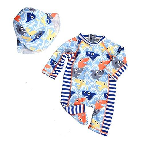 Gogokids Stroje kąpielowe dla chłopców - dziecięcy jednoczęściowy strój kąpielowy dla dzieci uniwersalny kostium przeciwsłoneczny ochrona przed słońcem kostium plażowy z czepkiem pływackim, 9 miesięcy - 7 lat
