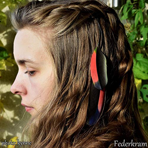 Bunte Papagei Feder Haar Extension, rot schwarz blau grün, Haarschmuck Clips Haarspange Federschmuck Federkram handgemacht