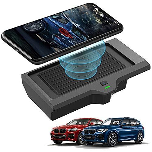 Braveking1 Caricatore Wireless Auto per BMW X3 2018 2019 2020 BMW X4 2019 2020 Pannello degli Accessori della Console Centrale, 10W Qi Rapida Ricarica 3 Bobine Antiscivolo Telefono Pad