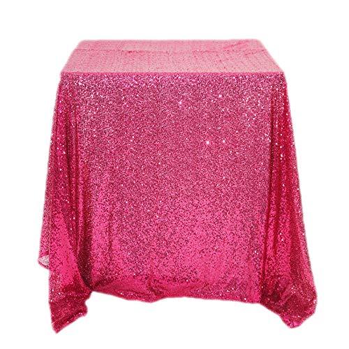 TWTIQ Tovaglia Ricamata in Oro Rosa Tovaglia di Paillettes Rettangolare in Poliestere Hotel Ristorante Casa di Nozze Rosa Rossa 120 Cm * 240 Cm