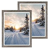 NUOLAN 16x20 Picture Frame Rustic Gray Wood Pattern, Wall Hanging Poster Frames with Plexiglass Front, Set of 2(NL-PF16X20-RG)