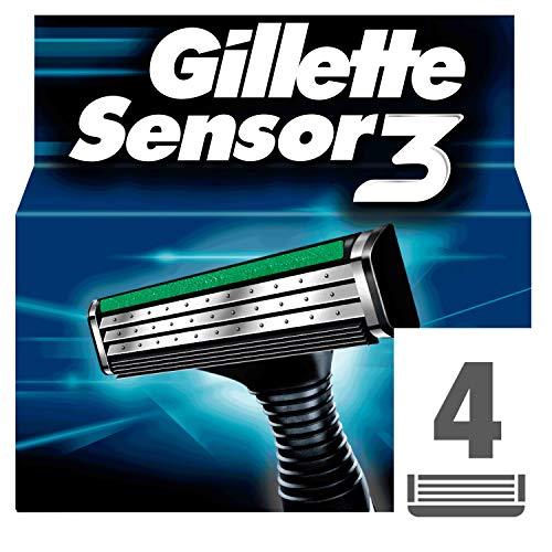 Gillette Sensor 3 Riservare Rasoio Compatible con Il Rasoio Sensor Excel, 4 Pezzi
