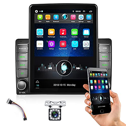 CAMECHO Android 10.0 Radio de Coche 2Din Estéreo de Coche GPS 9.5'' HD 1080P Vertical Pantalla con Bluetooth WiFi Navegación GPS FM/RDS/USB IN Enlace Espejo+Trasero Vista Cámara+Adaptador ISO