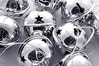 """Charmed Large Size Christmas Star Cutout Jingle Sleigh Bell Ornament 3"""" Pack of 6 (Silver)"""